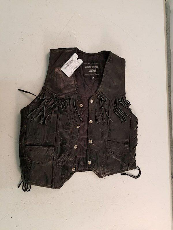 Womens black leather riding vest