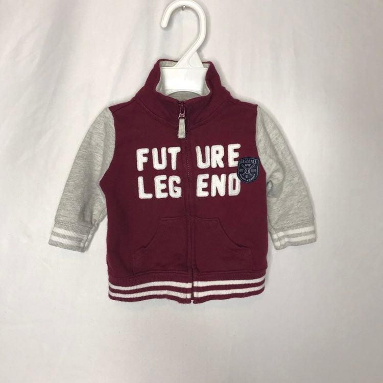 Carters Fleece Jacket (Burgundy/Gray) Si