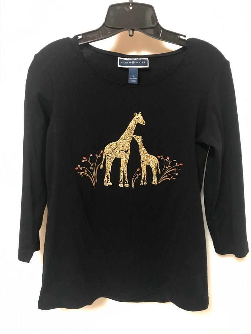 Karen Scott black gold giraffe top