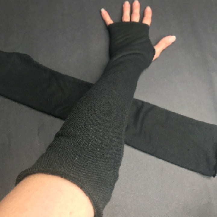 Soft Black Terry Cloth Hand Arm Warmers
