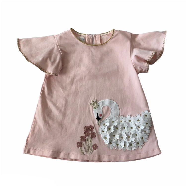 Mud Pie Floral Swan Flutter Tunic Top