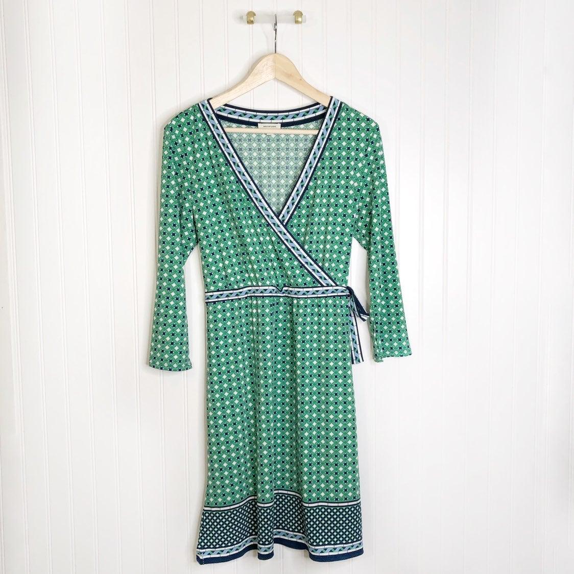 Max Studio Green Blue Midi Dress Vneck