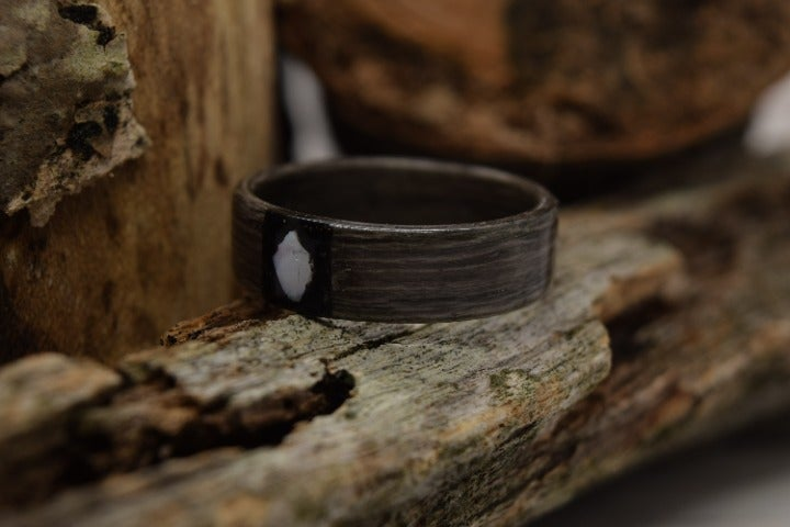 Grey Maple Bentwood,Black Tourmaline, Mother Of Pearl, Ready To Ship, Size 11.25