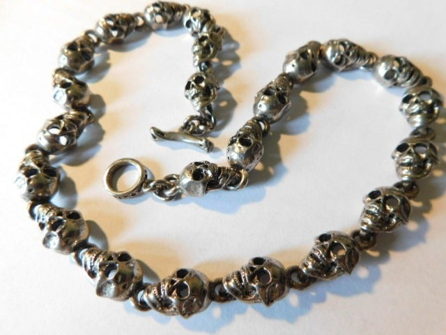 """Scull Necklace Mens 18"""" Multiple Sculls"""