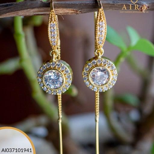 One gram gold hoop ruby/diamond earring