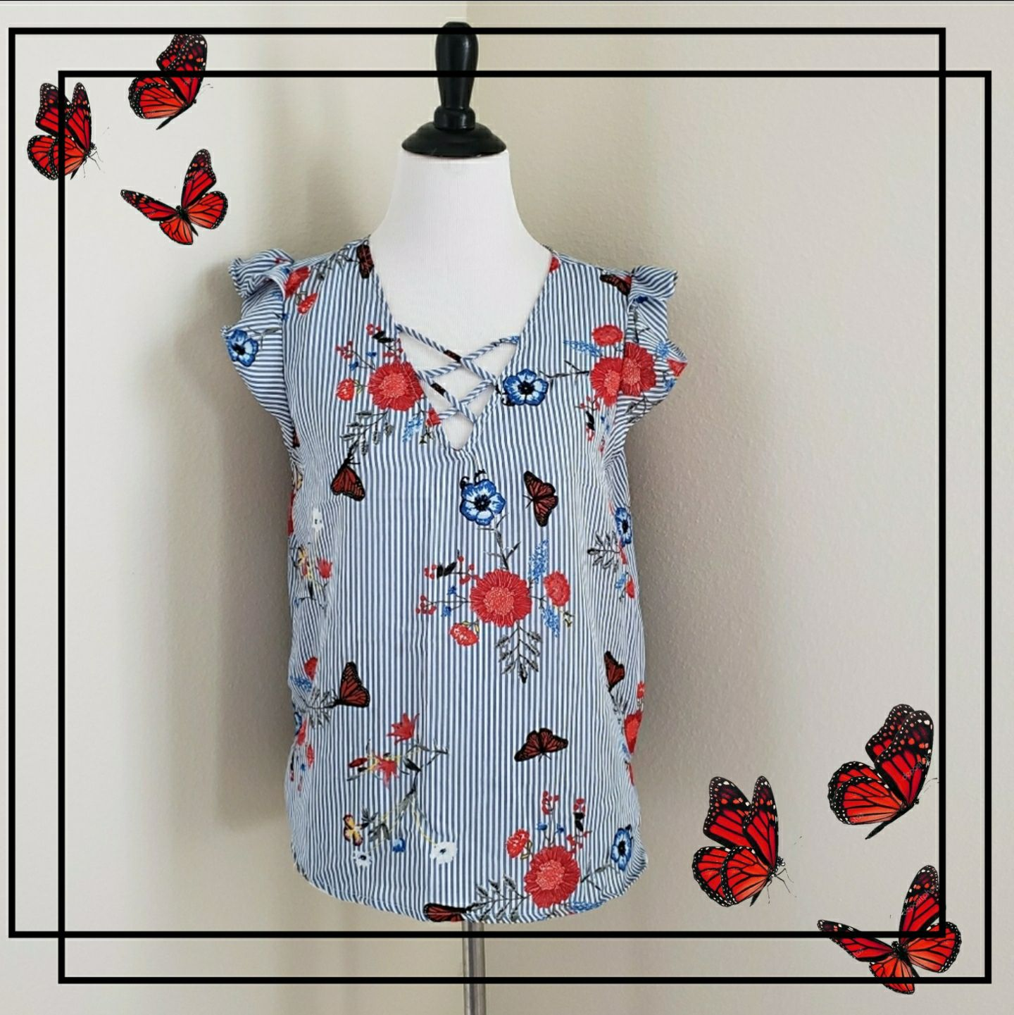 Pinstripe butterfly floral Blouse