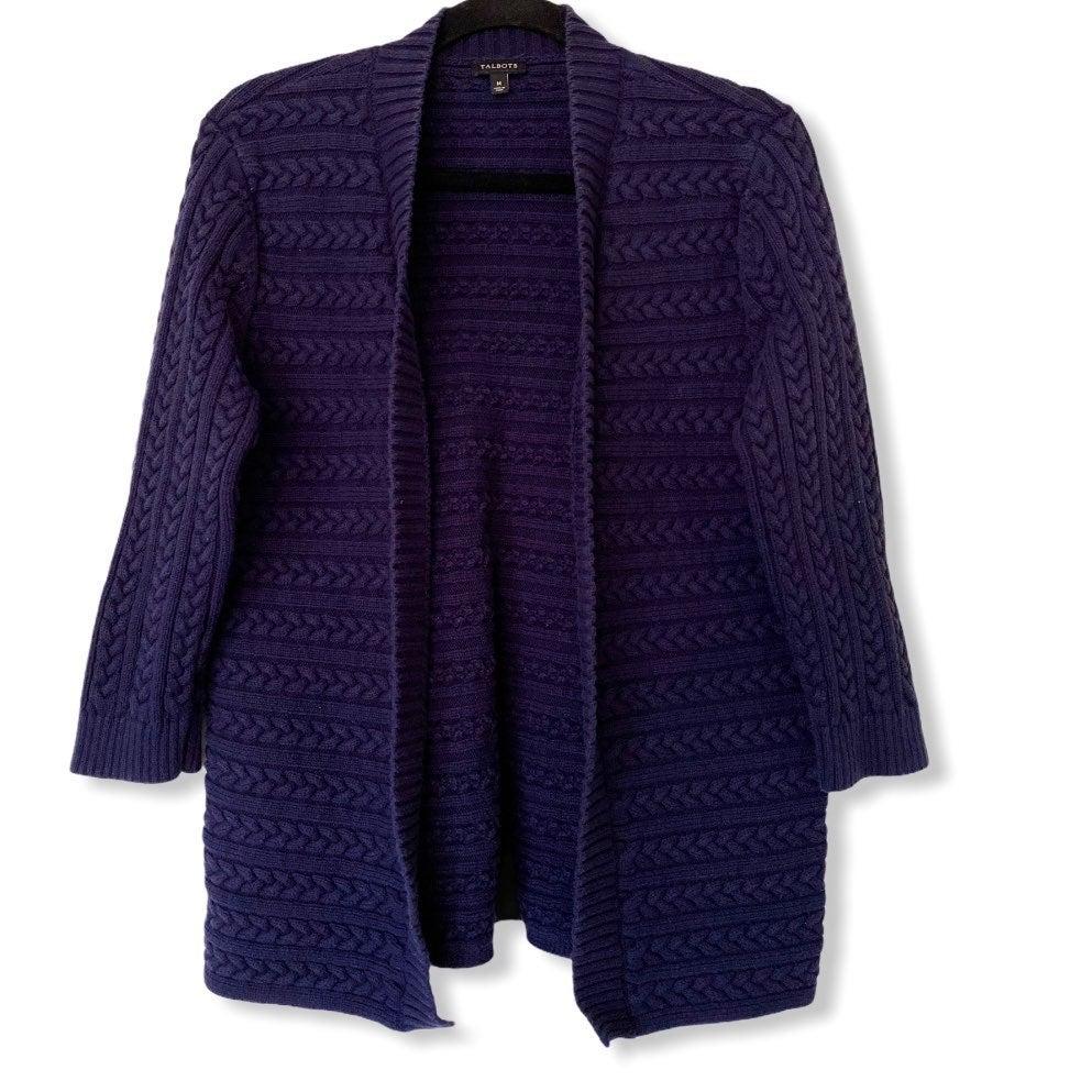 Talbots open knit navy shrug