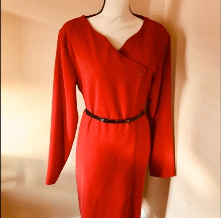 A.N.A Red Long Sleeve Midi Wrap Front.