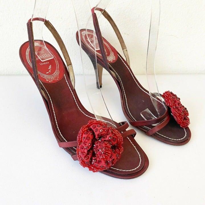 Rene Caovilla Red Pumps Heels Shoes