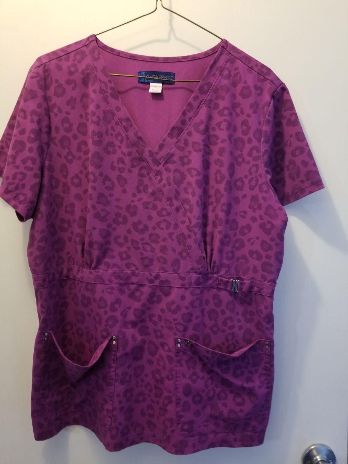 Koi Sapphire scrub top size L purple leo