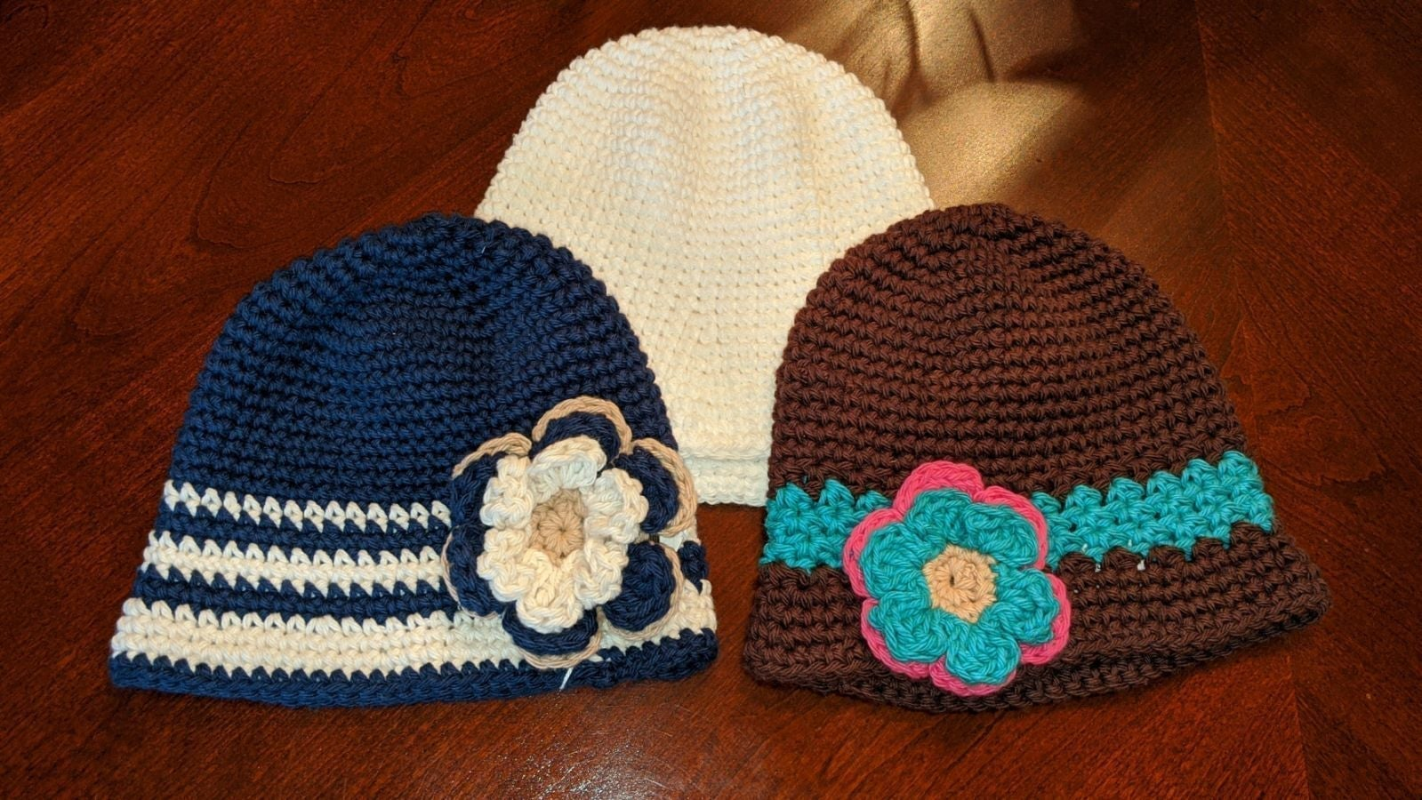3 Handmade Infant Crochet Hats