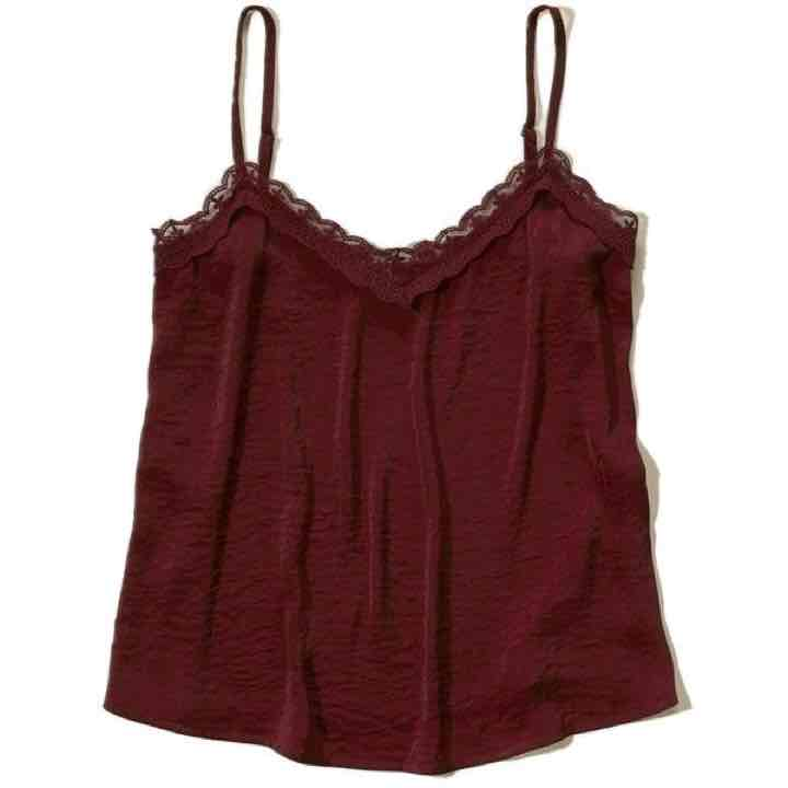 Hollister Lace Trim Maroon Camisole Top