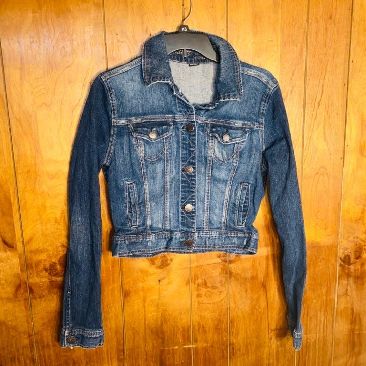 Celebrity Pink Denim Jean Crop Jacket L
