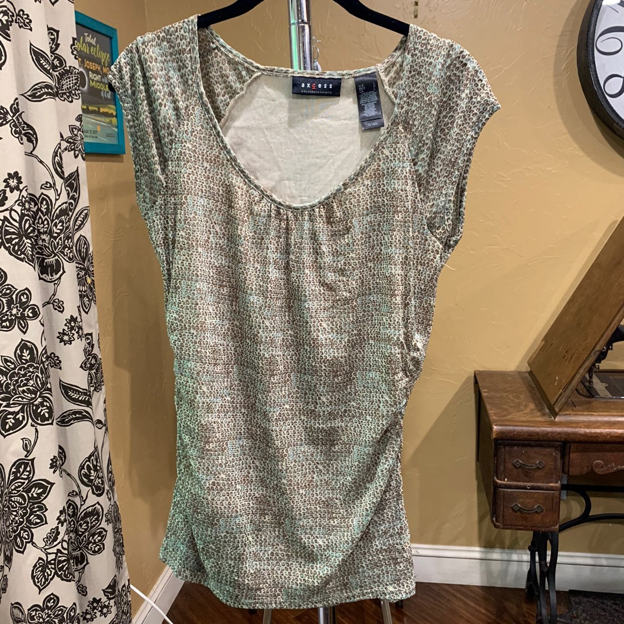 Large casual blouse with ruched sides