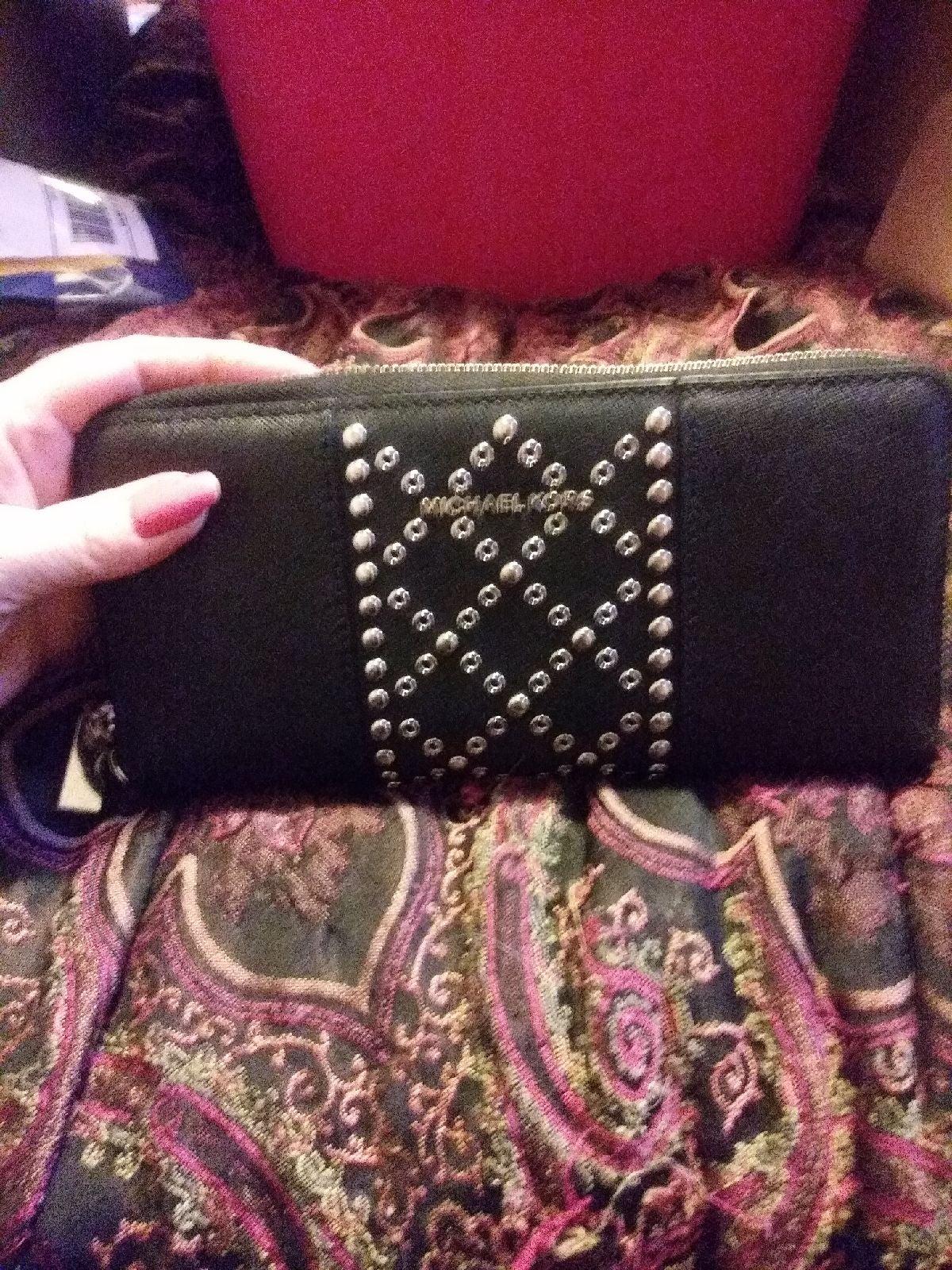 Michael Kors Black Leather Stud  Wallet