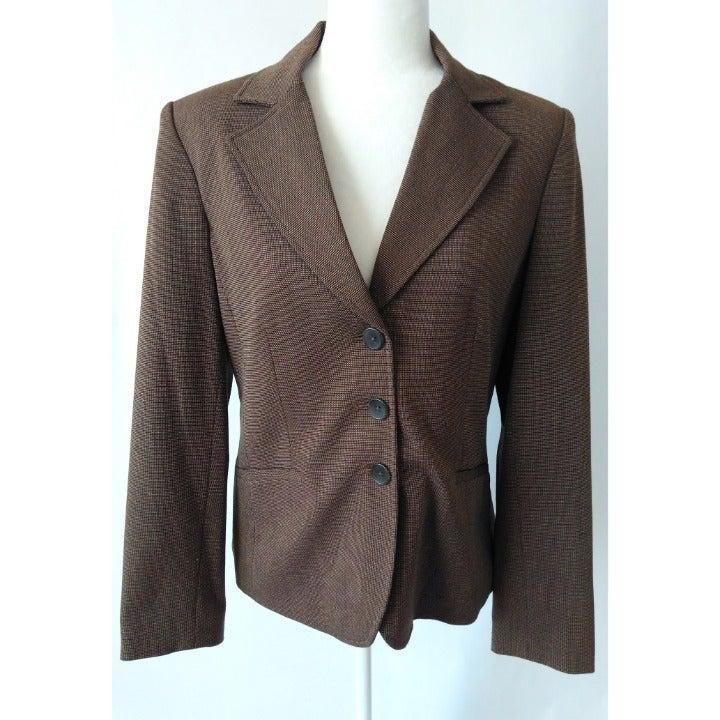 Rafaella Tweed Blazer Stretch Brown Sz10