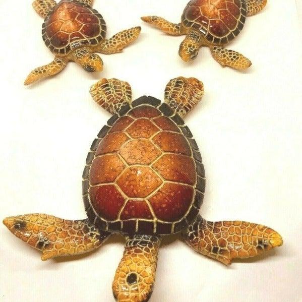 "3 Sea Turtles Brown Mama & Babies 5.5"""