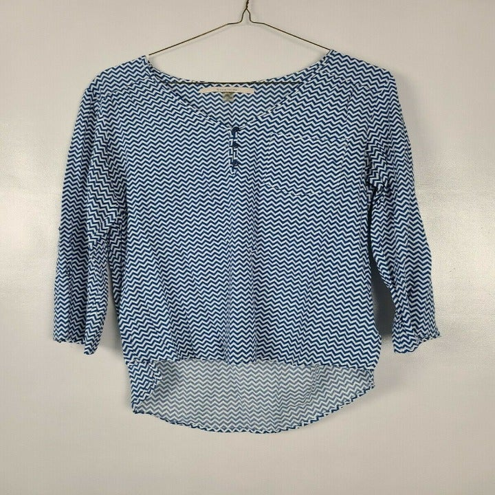 41 Hawthorn Blue White Blouse Top Medium