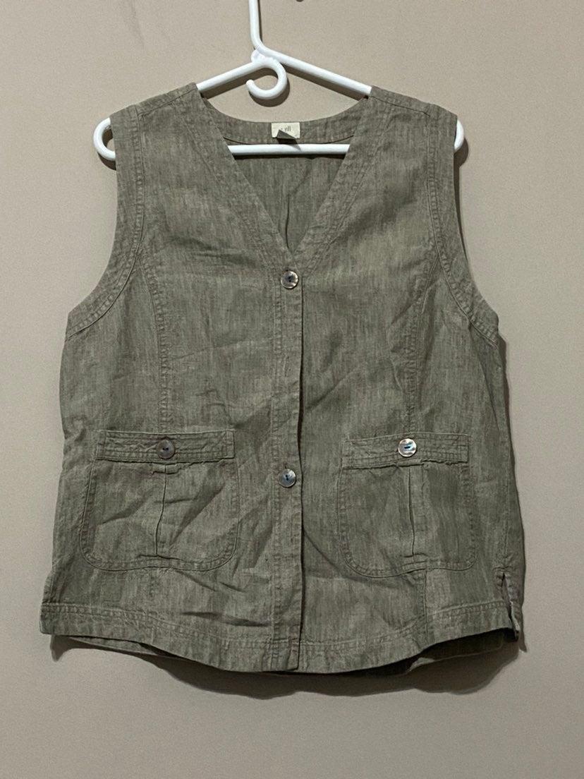 Light Brown Linen Button Front Vest