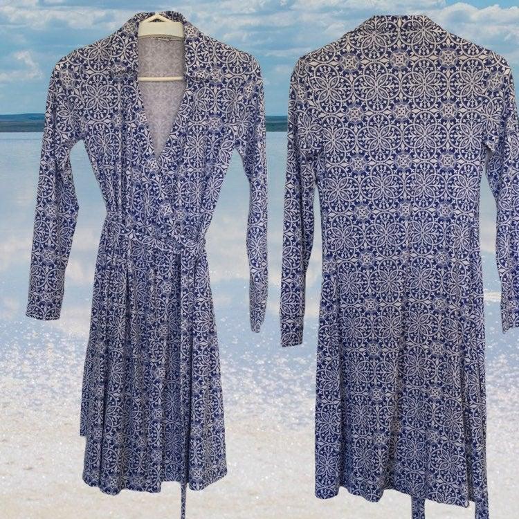 Pendleton Blue White L/Sleeve Wrap Dress