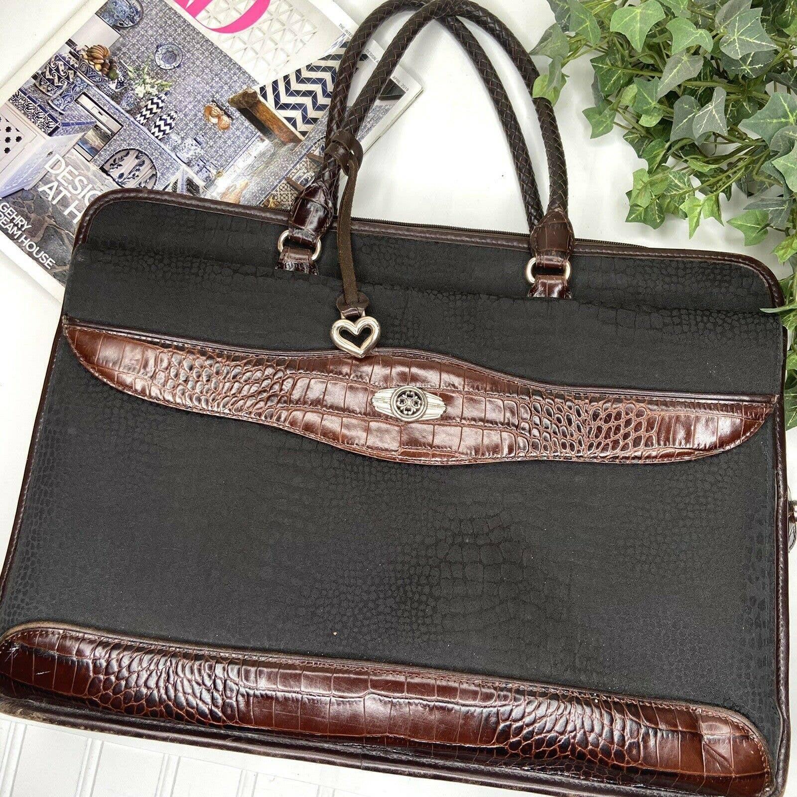 Brighton Black Brown Faux Croc Briefcase