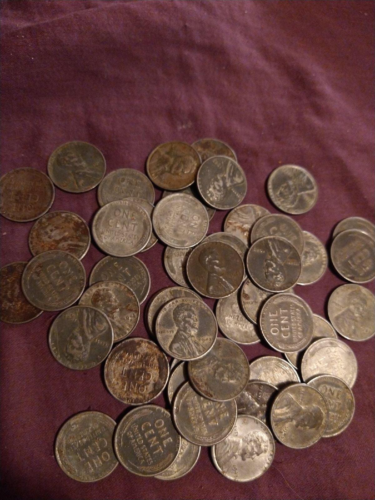 Lot of 49 1943 steel Penny's