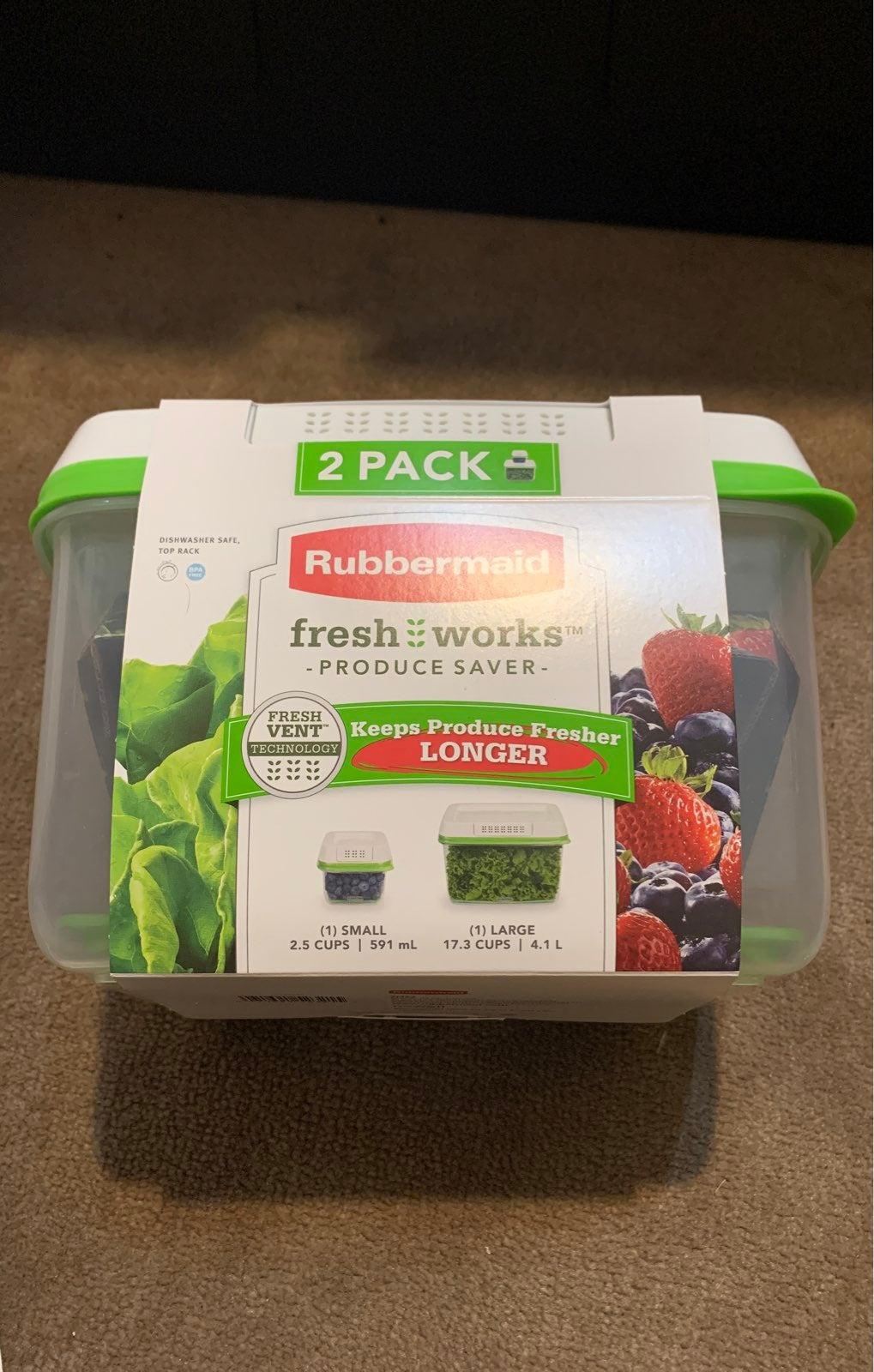 NEW Rubbermaid Fresh Works 2x set clear