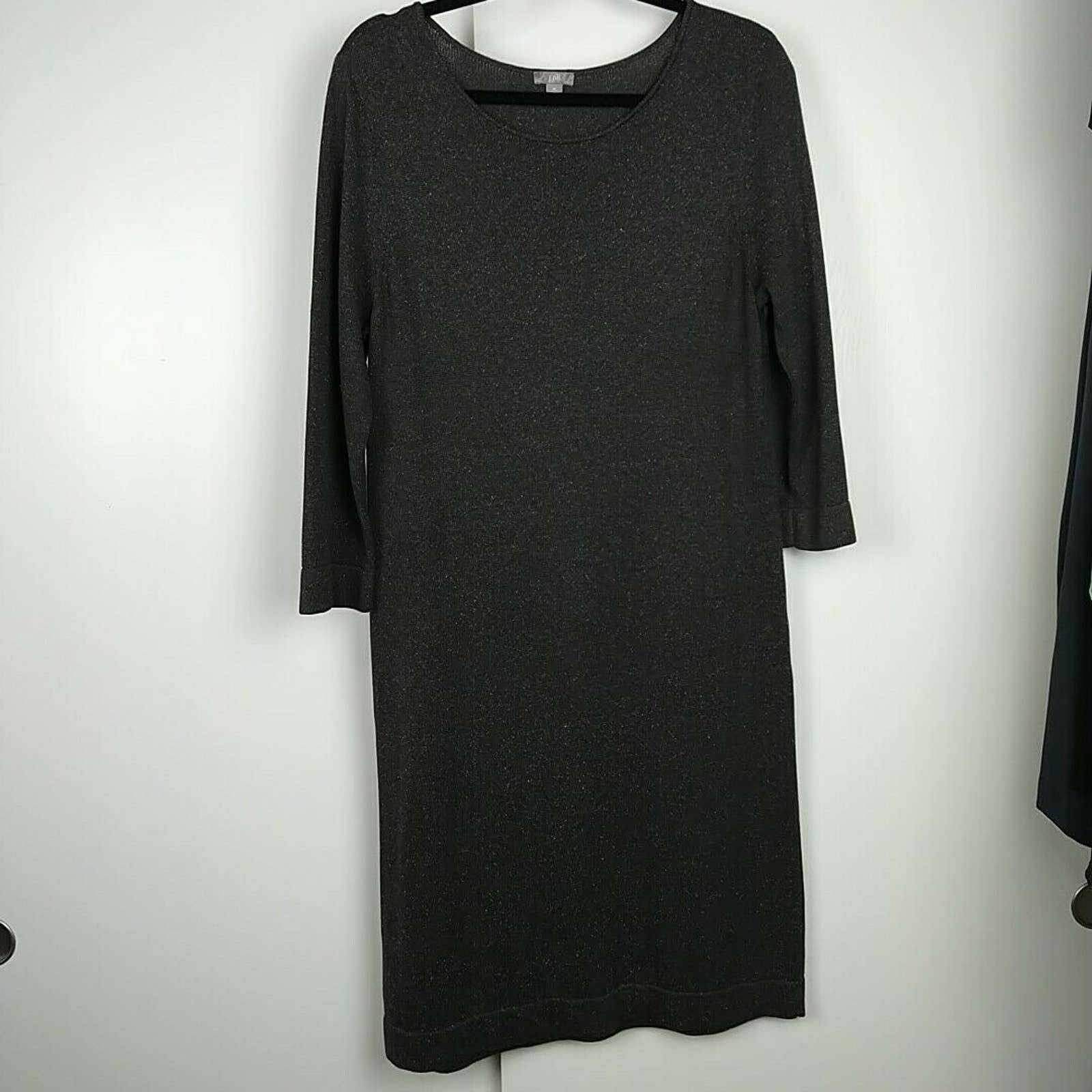 J Jill Brown Long Sleeve Sweater Dress M