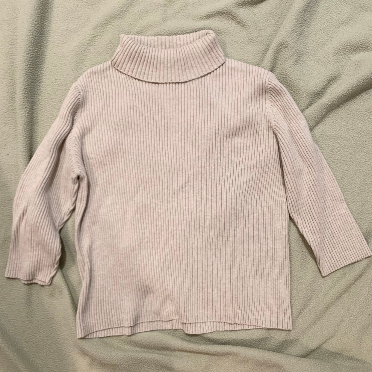 Beige Turtleneck 3/4 sleeve sweater