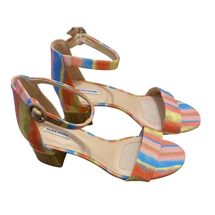 Alex Marie Rainbow Stripe Sandals Size 8