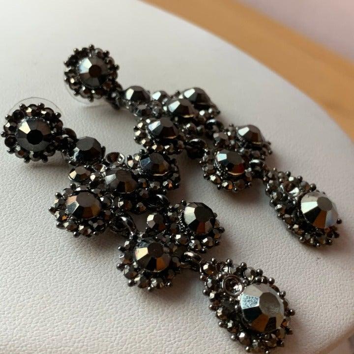 Dangle/Drop Silver Black Crystal Earring