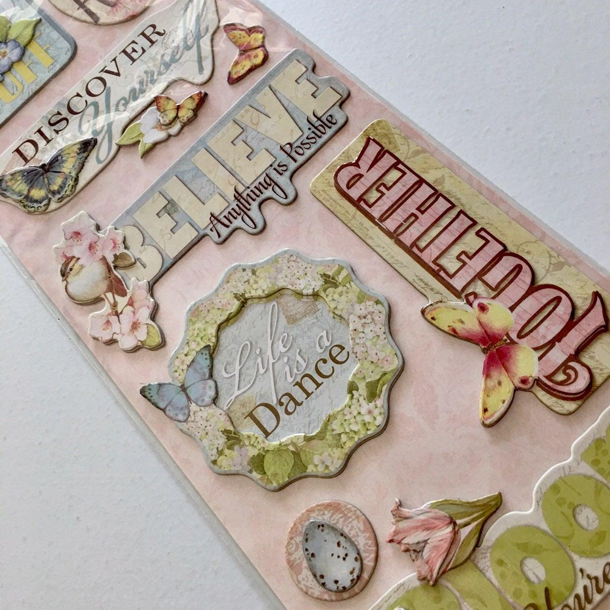 Floral Words K&Co. Winget Chipboard Stic