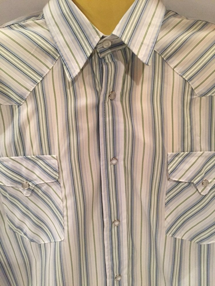 Western Style Pearl Snap Button Shirt 2X