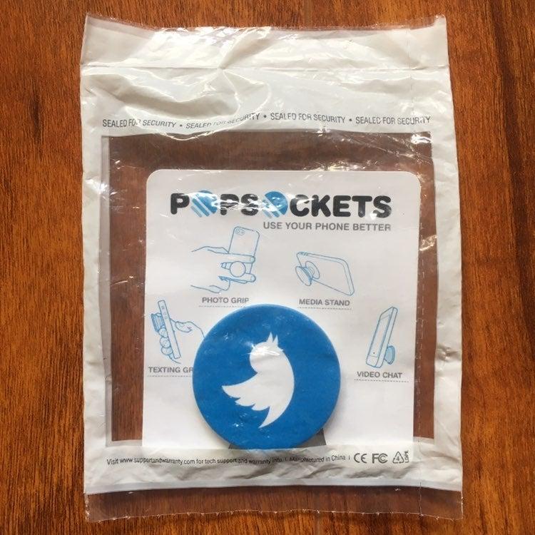 blue and white twitter logo popsocket