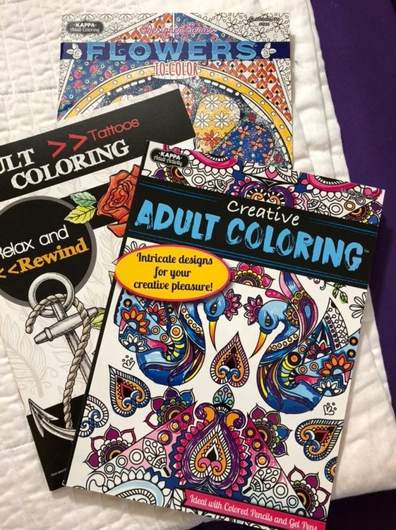 3 adult coloring books