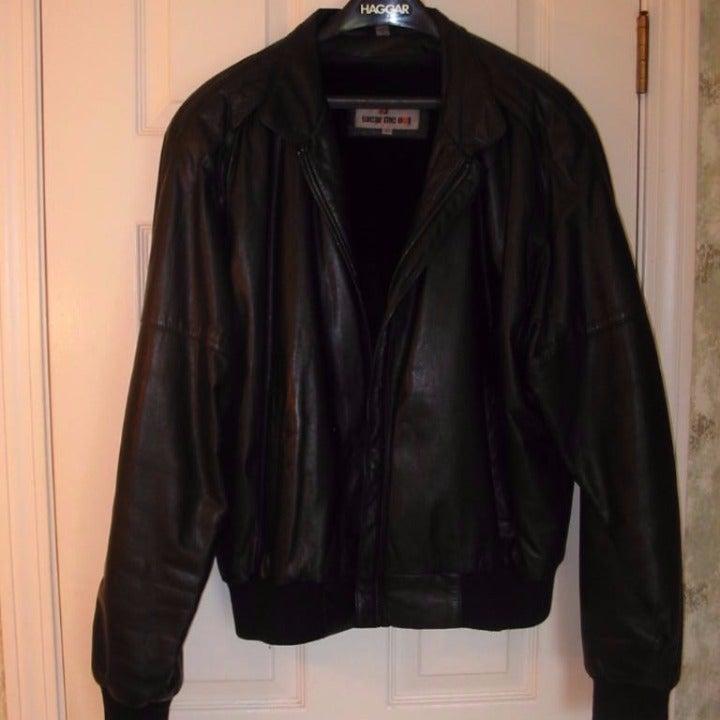 MEN'S Leather Bomber Jacket sz 44