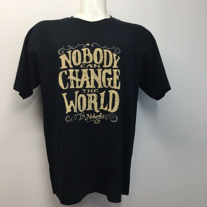 """Gildan Mens Black T-shirt L """"NoBody Can"""