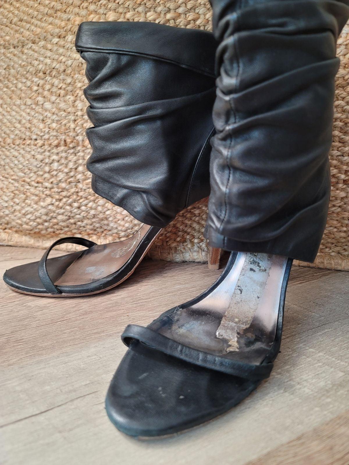 BCBG Ankle Cuff PeepToe Leather Sandal