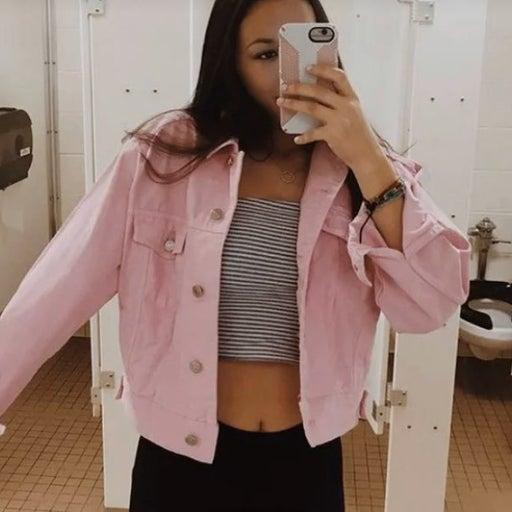 Pink jean Top Shop Moto Jacket