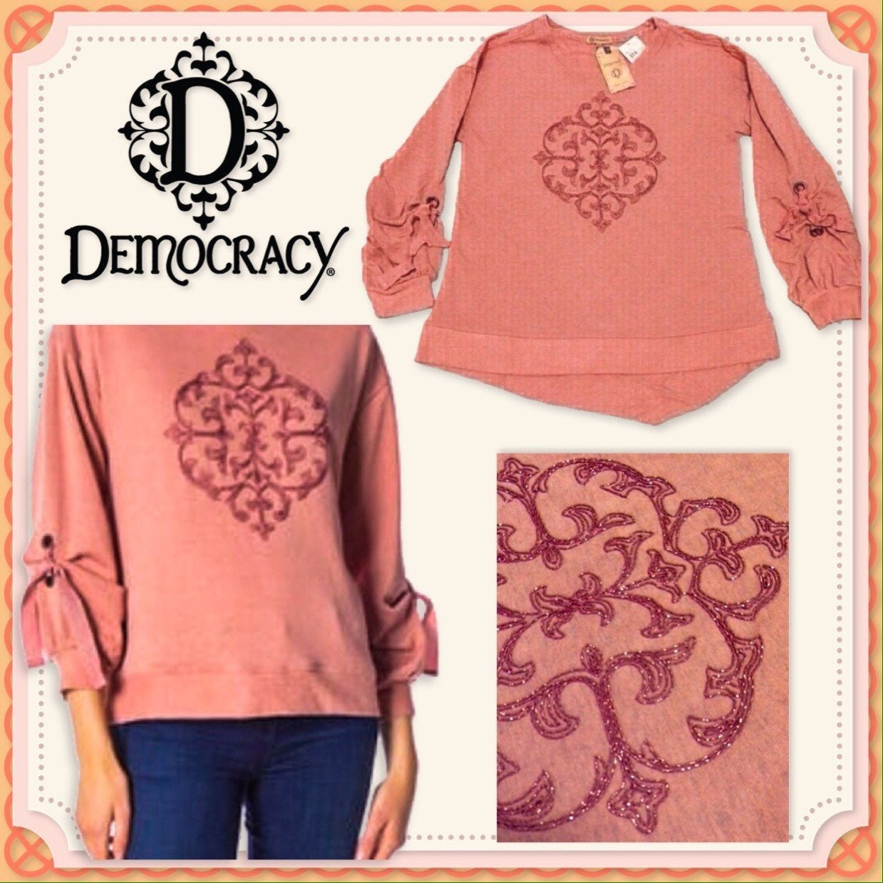 New DEMOCRACY Embroider Knit Top w/Ties