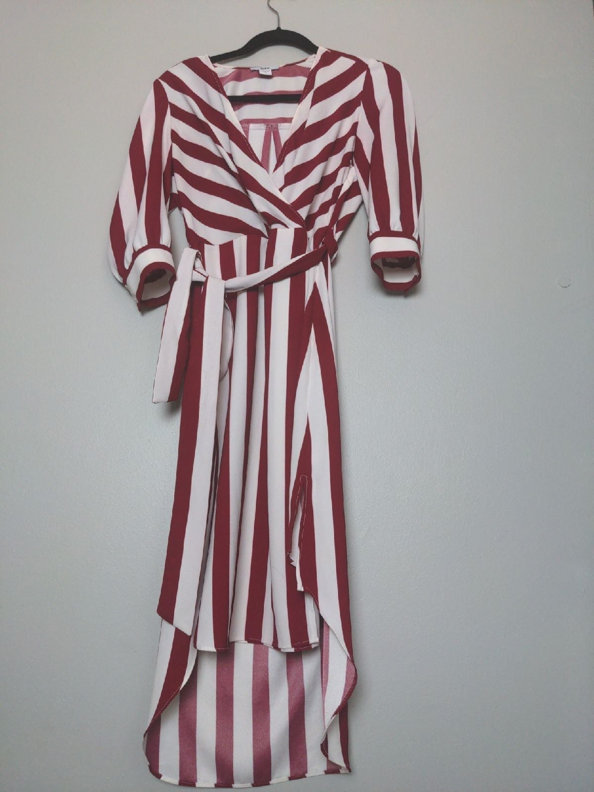 Red and White Striped Wrap Dress