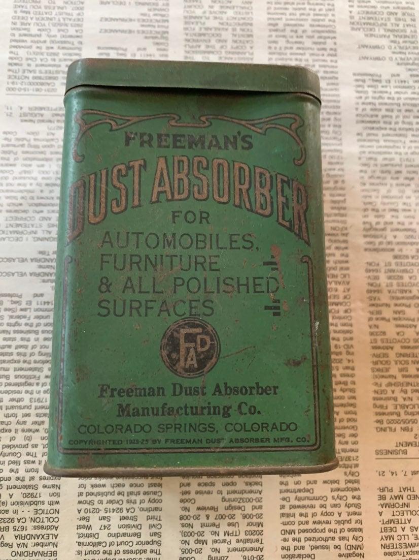 1920 Freeman's Dust Obsorber TIN & Cloth