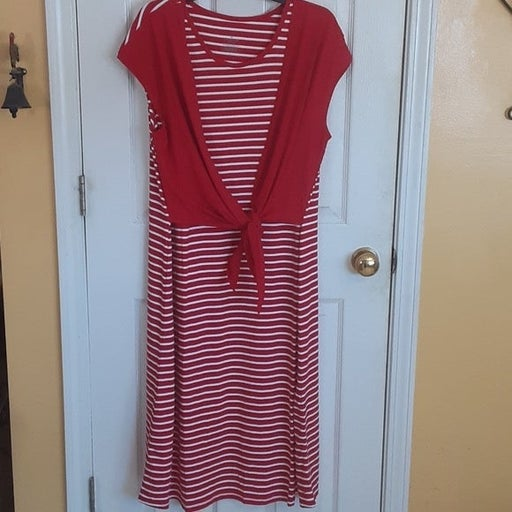 CUDDL DUDS Tie Front Striped Maxi Dress