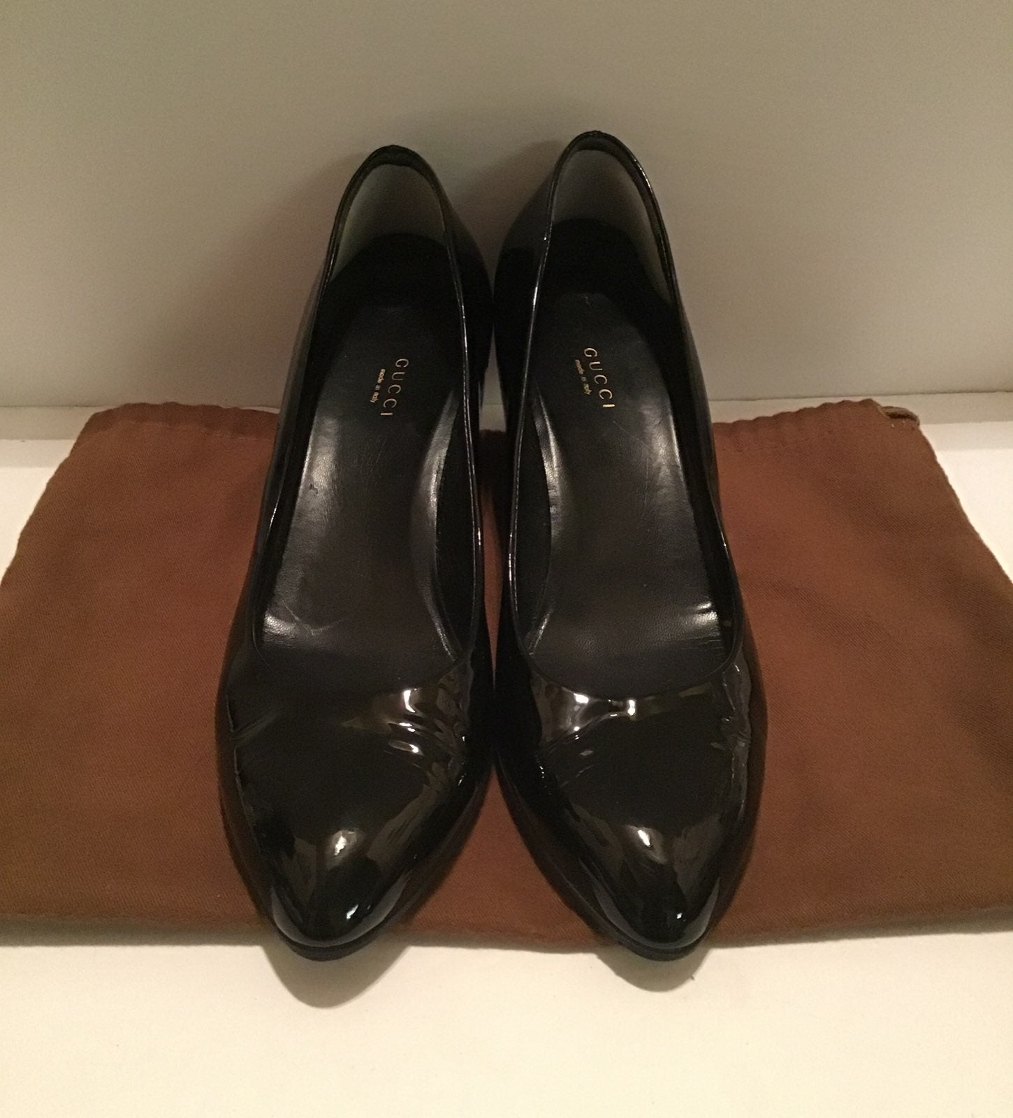 GUCCI AUTHENTIC BLACK PATENT WEDGE