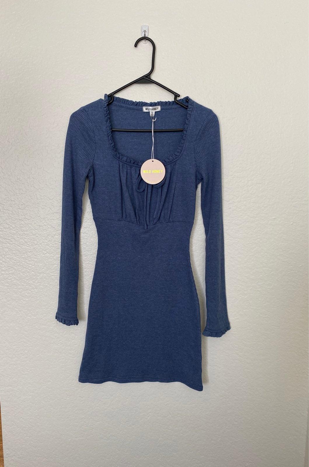 Lauras Boutique Blue Ribbed Mini Dress