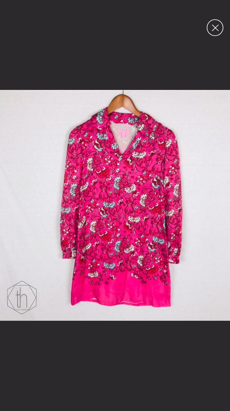 Lilly Pulitzer silk collared dress 0 pin