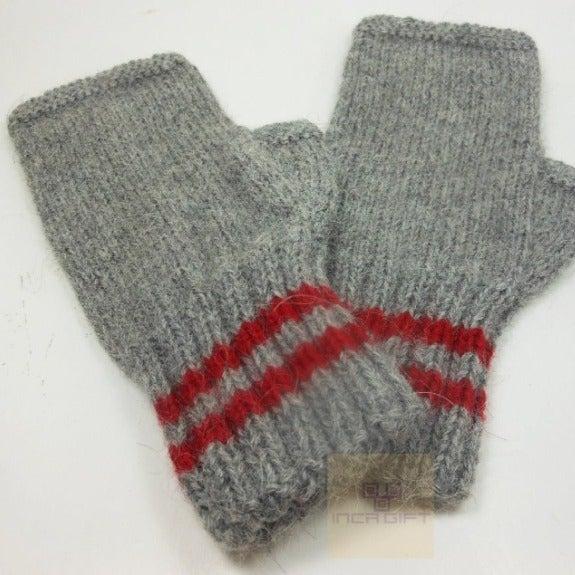 Gray-Red Handmade Alpaca Gloves