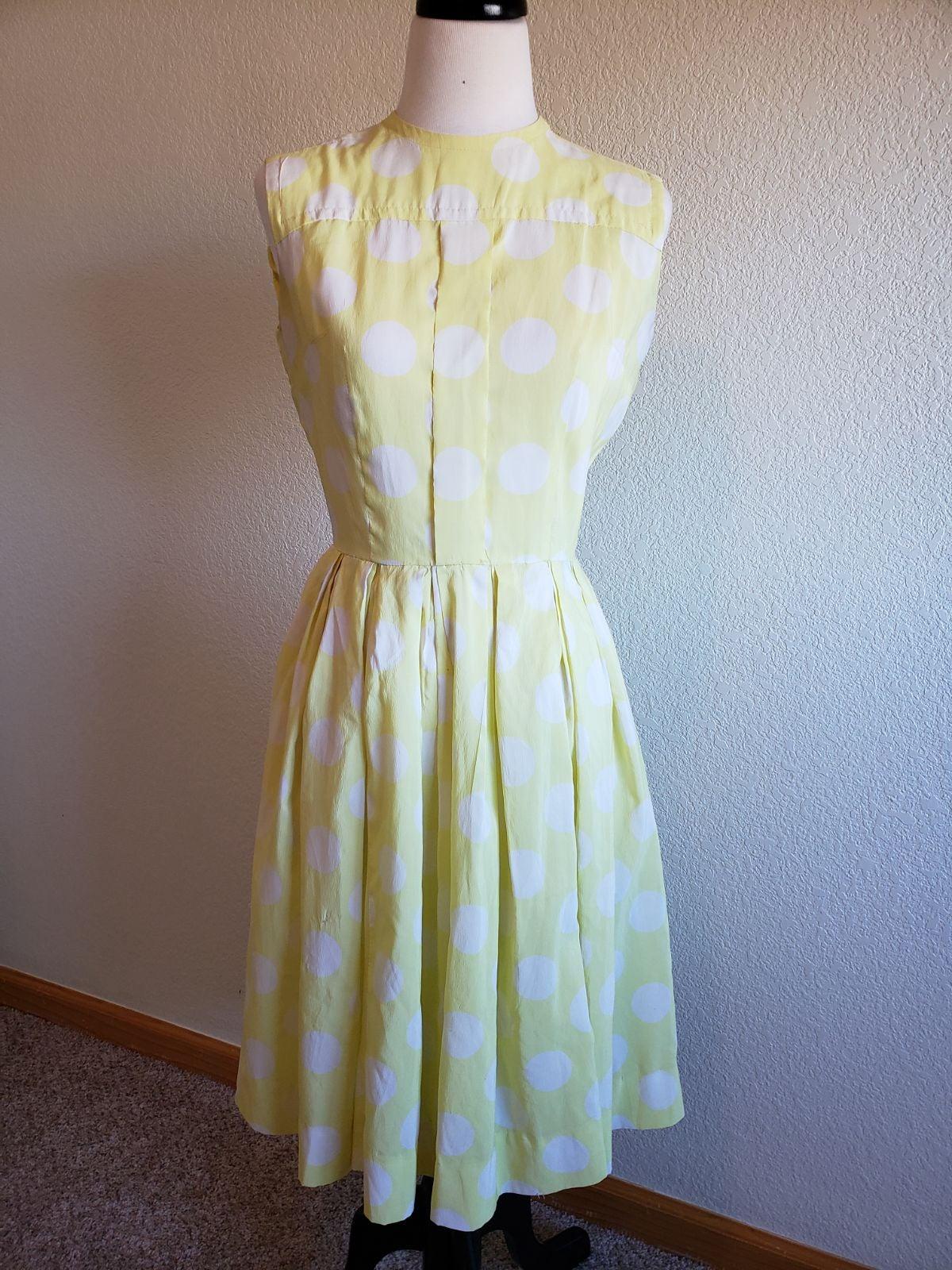 1950s vintage yellow polka dot dress
