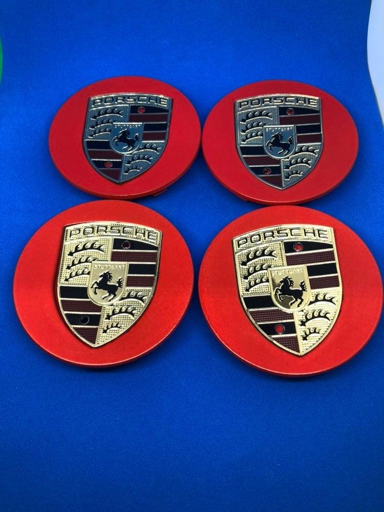 4 center cap red Porsche 76 mm new