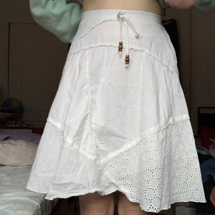 Vintage candies white crochet skirt
